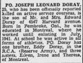 Leonard Doray obituary 1942