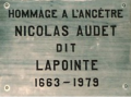 Nicolas Audet dit Lapointe – Plaque at St. Laurent Church, Île d'Orléans